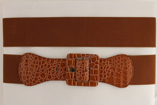 12 Different Colors Stretch Crocodile Stamped Belt Big Square Buckle New Women Accessories