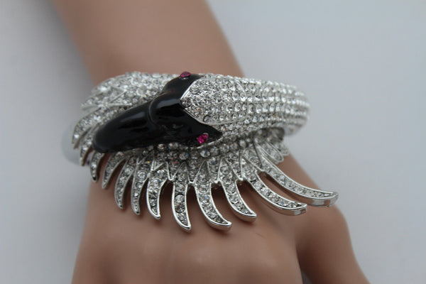 Silver Metal Cuff Bracelet Big Black Swan Duck Rhinestones New Women Fashion Jewelry Accessories - alwaystyle4you - 3