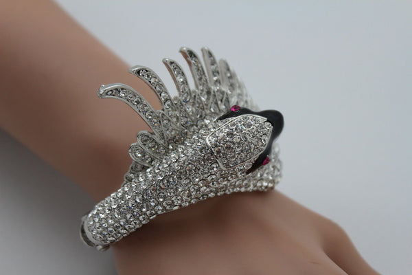 Silver Metal Cuff Bracelet Big Black Swan Duck Rhinestones New Women Fashion Jewelry Accessories - alwaystyle4you - 4