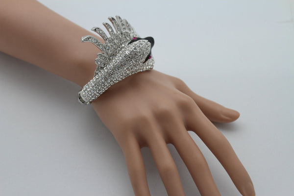 Silver Metal Cuff Bracelet Big Black Swan Duck Rhinestones New Women Fashion Jewelry Accessories - alwaystyle4you - 7