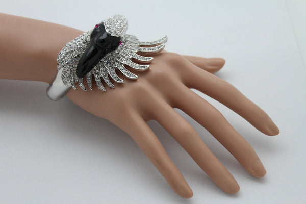 Silver Metal Cuff Bracelet Big Black Swan Duck Rhinestones New Women Fashion Jewelry Accessories - alwaystyle4you - 12