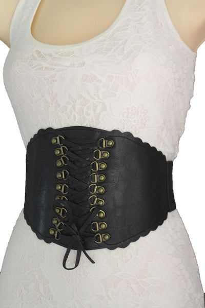 White / Black Elastic Faux Leather Wide Corset High Waist Belt Slimming Front Tie Gold New Women Fashion Accessories S M - alwaystyle4you - 8