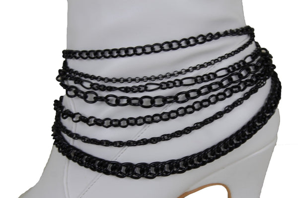 New Women Black Boot Chain Links Shoe Charm Multi Strands Waves Strap Western Style