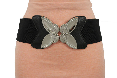 Black Faux Leather Stretch Back Elastic Hip High Waist Wide Belt Silver Big Flower Buckle New Women Fashion Accessories S M - alwaystyle4you - 1