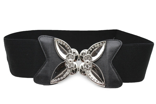 Black Faux Leather Stretch Back Elastic Hip High Waist Wide Belt Silver Big Flower Buckle New Women Fashion Accessories S M - alwaystyle4you - 4
