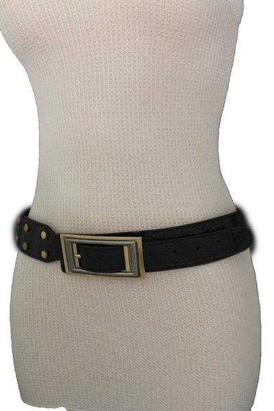 Black Faux Leather Snake Skin Belt Big Retro Gold Rectangle Buckle Studs New Women Fashion Accessories S M - alwaystyle4you - 11