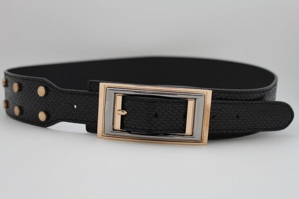Black Faux Leather Snake Skin Belt Big Retro Gold Rectangle Buckle Studs New Women Fashion Accessories S M - alwaystyle4you - 3