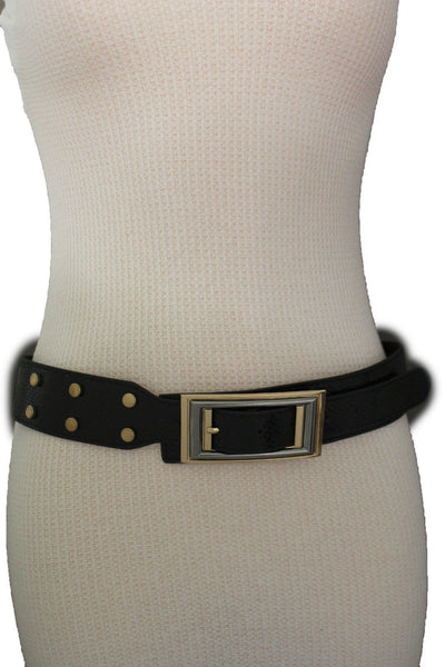 Black Faux Leather Snake Skin Belt Big Retro Gold Rectangle Buckle Studs New Women Fashion Accessories S M - alwaystyle4you - 4
