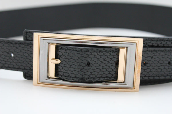 Black Faux Leather Snake Skin Belt Big Retro Gold Rectangle Buckle Studs New Women Fashion Accessories S M - alwaystyle4you - 5