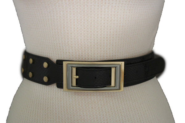 Black Faux Leather Snake Skin Belt Big Retro Gold Rectangle Buckle Studs New Women Fashion Accessories S M - alwaystyle4you - 1