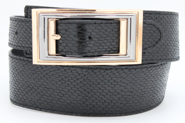 Black Faux Leather Snake Skin Belt Big Retro Gold Rectangle Buckle Studs New Women Fashion Accessories S M - alwaystyle4you - 6