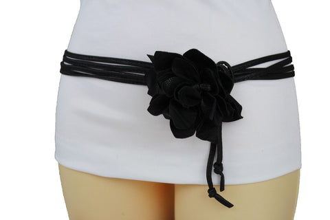 New Women Black Faux Leather Belt Skinny Tie Waistband Wrap Around Big Flower Accessories M L XL