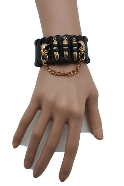 Black Faux Leather Gold Metal Bracelet Chains Skulls Bullet Charms New Women Men Fashion Jewelry Accessories - alwaystyle4you - 3