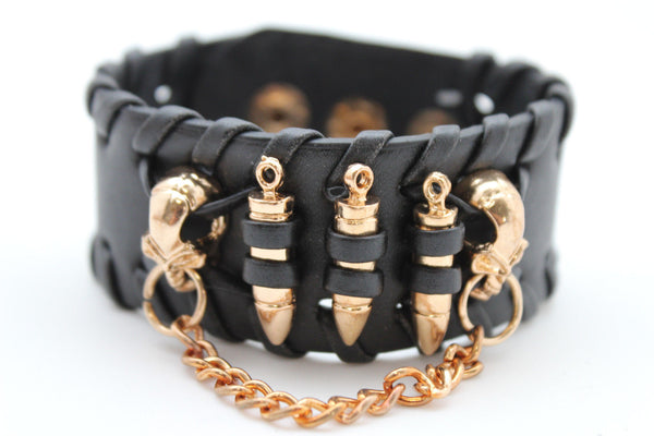 Black Faux Leather Gold Metal Bracelet Chains Skulls Bullet Charms New Women Men Fashion Jewelry Accessories - alwaystyle4you - 5