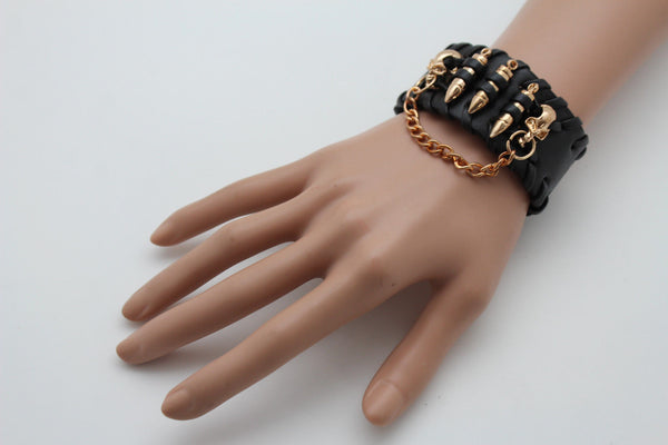 Black Faux Leather Gold Metal Bracelet Chains Skulls Bullet Charms New Women Men Fashion Jewelry Accessories - alwaystyle4you - 6