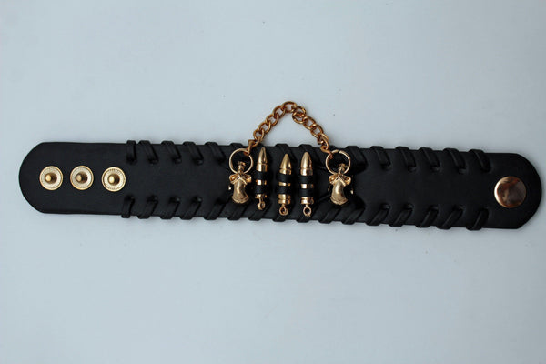 Black Faux Leather Gold Metal Bracelet Chains Skulls Bullet Charms New Women Men Fashion Jewelry Accessories - alwaystyle4you - 7