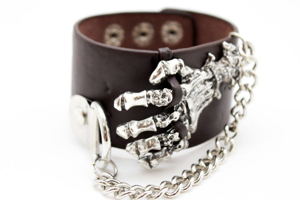 Dark Brown / Black Faux Leather Bracelet Gold / Silver Metal Chains Skeleton Skulls Hand New Women Fashion Jewelry Accessories - alwaystyle4you - 15