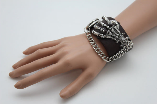 Dark Brown / Black Faux Leather Bracelet Gold / Silver Metal Chains Skeleton Skulls Hand New Women Fashion Jewelry Accessories - alwaystyle4you - 22