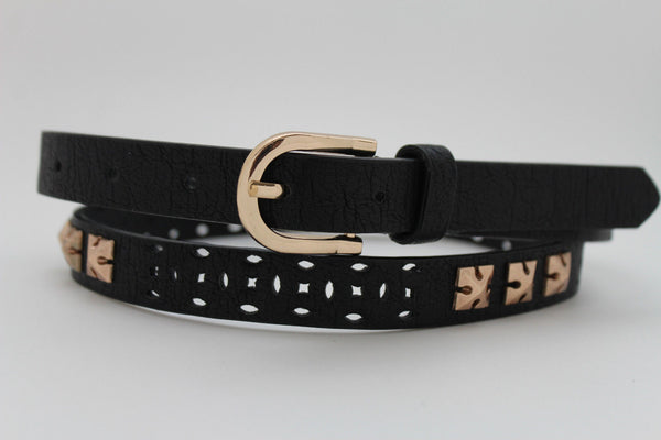Women Black Peach Beige Faux Leather Bronze Belt Narrow Studs Gold Buckle New Fashion S M