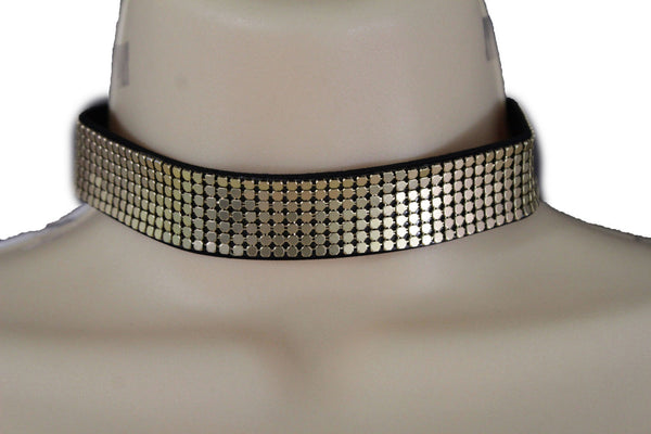 Black Gold Metal Faux Leather Skinny Mesh Choker Necklace New Women Hip Hop Fashion Jewelry Accessories
