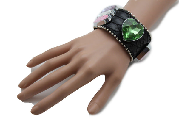 Brown Black Leather Bracelet Colorful Rhinestones Bead New Women Fashion Jewelry Accessories - alwaystyle4you - 18