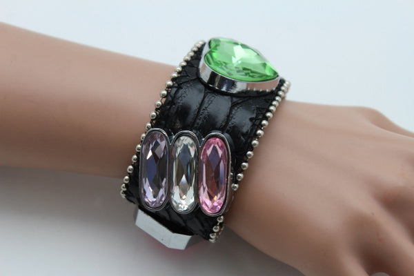 Brown Black Leather Bracelet Colorful Rhinestones Bead New Women Fashion Jewelry Accessories - alwaystyle4you - 22