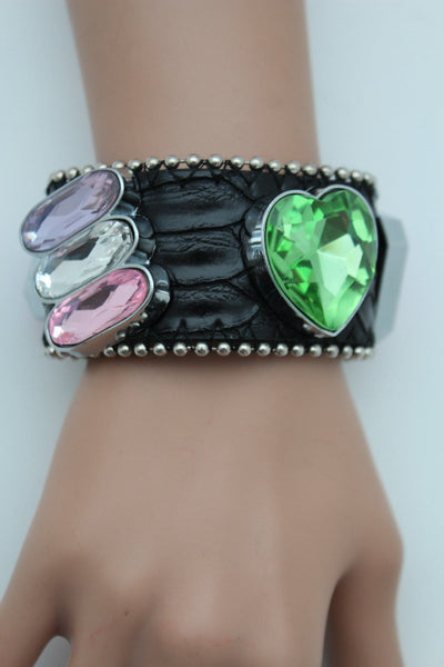 Brown Black Leather Bracelet Colorful Rhinestones Bead New Women Fashion Jewelry Accessories - alwaystyle4you - 24
