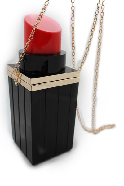 Black Red Lipstick Purse Small Evening Handbag Gold Chain Mini Bag New Women Fashion Accessories