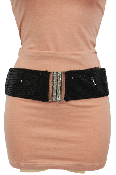 Hot Black Stretch Fabric Sequins Dressy Belt Big Silver Metal Bamboo Buckle New Women XS S M - alwaystyle4you - 12