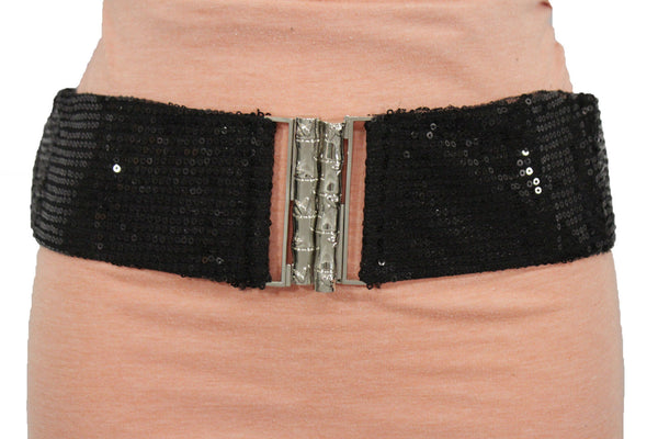 Hot Black Stretch Fabric Sequins Dressy Belt Big Silver Metal Bamboo Buckle New Women XS S M - alwaystyle4you - 2