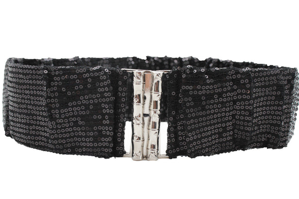 Hot Black Stretch Fabric Sequins Dressy Belt Big Silver Metal Bamboo Buckle New Women XS S M - alwaystyle4you - 3