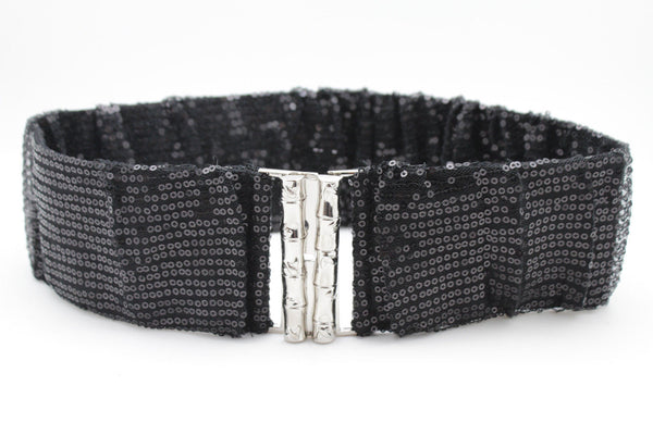 Hot Black Stretch Fabric Sequins Dressy Belt Big Silver Metal Bamboo Buckle New Women XS S M - alwaystyle4you - 5
