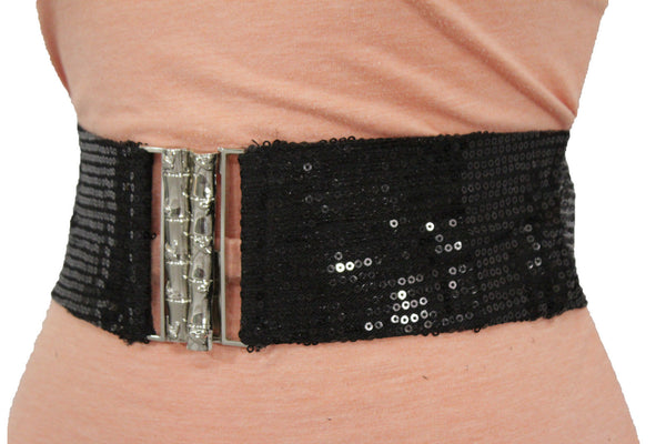 Hot Black Stretch Fabric Sequins Dressy Belt Big Silver Metal Bamboo Buckle New Women XS S M - alwaystyle4you - 1