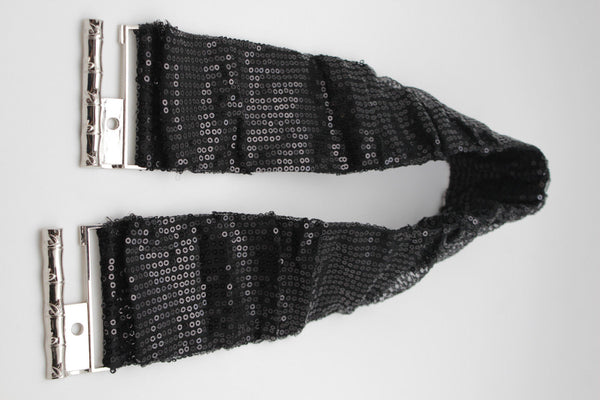 Hot Black Stretch Fabric Sequins Dressy Belt Big Silver Metal Bamboo Buckle New Women XS S M - alwaystyle4you - 9