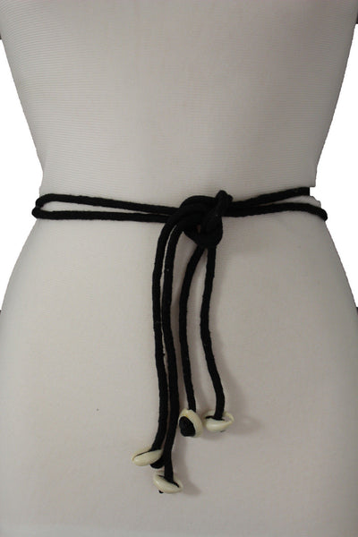 Black Tie Hip High Waist Belt Real Seashells Flower Bead Charm New Women Fashion Accessories S M