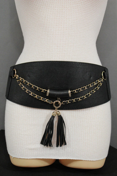 Black / Gray Faux Leather Stretch Back Hip Waist Wide Corset Belt Gold 2 Rows Chains Fringes Western Style New Women Fashion Accessories S M - alwaystyle4you - 3