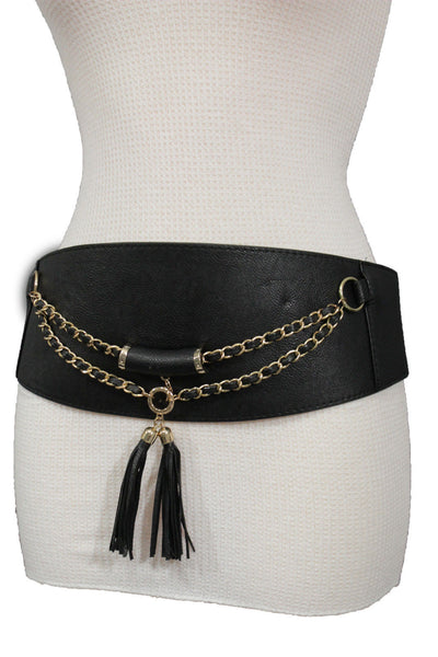 Black / Gray Faux Leather Stretch Back Hip Waist Wide Corset Belt Gold 2 Rows Chains Fringes Western Style New Women Fashion Accessories S M - alwaystyle4you - 8