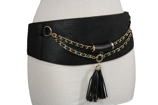 Black / Gray Faux Leather Stretch Back Hip Waist Wide Corset Belt Gold 2 Rows Chains Fringes Western Style New Women Fashion Accessories S M - alwaystyle4you - 12