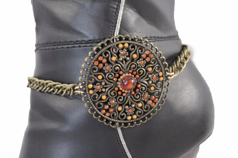 Antique Gold Metal Chain Anklet Shoe Big Round Charm Boot Bracelet New Women Accessories