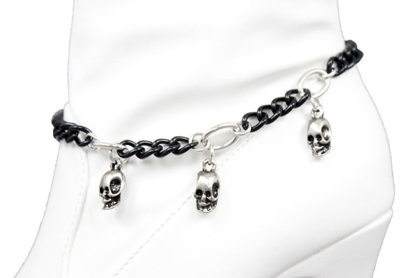 Black Silver Metal Boot Chain Bracelet Skeleton Skull  Anklet Shoe Charm Band New Women Accessories