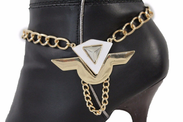 Gold Metal Chain Anklet Shoe White Geometric Charm Boot Bracelet New Women Fashion