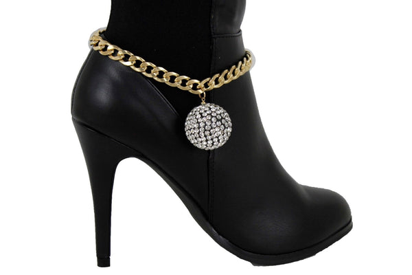 Gold Metal Chain Links Boot Bracelet Shoe Anklet Bling Disco Ball Charm New Women Fashion Accessories