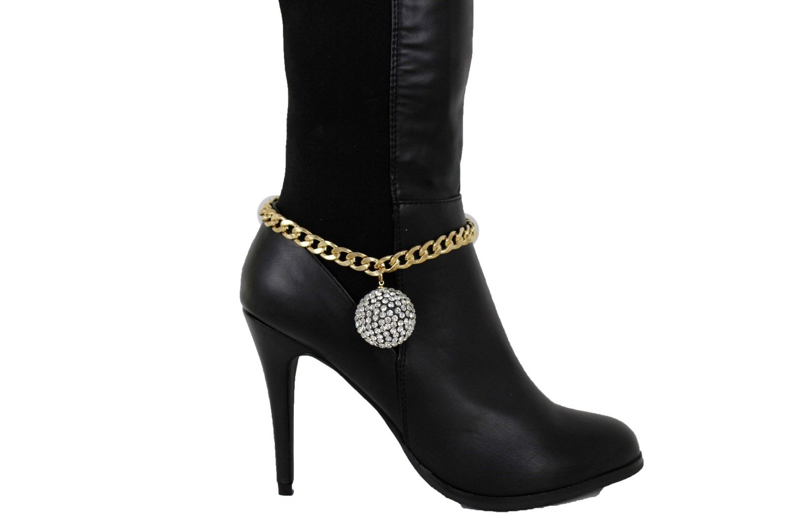 Women Western Boot Bracelet Silver Metal Chain Wide Strap Anklet Shoe Charm Ball Clothing, Shoes & Accessories Women's Accessories