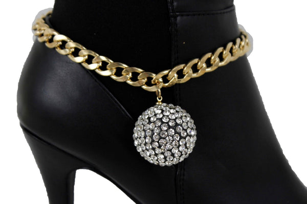 Gold Metal Chain Links Boot Bracelet Shoe Anklet Bling Disco Ball Charm New Women Accessories
