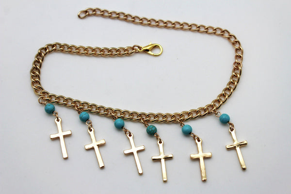 Gold Metal Turquoise Blue Crosses Anklet Shoe Charm Boot Chains Bracelet New Women Accessories - alwaystyle4you - 2