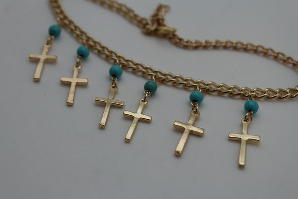 Gold Metal Turquoise Blue Crosses Anklet Shoe Charm Boot Chains Bracelet New Women Accessories - alwaystyle4you - 8