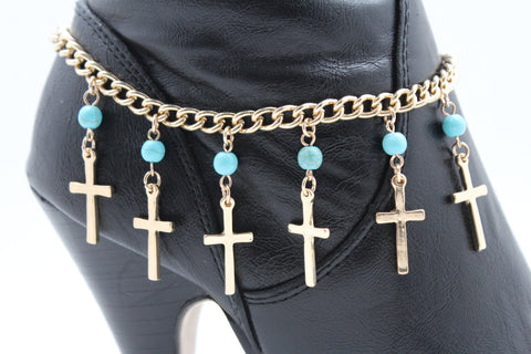 Gold Metal Turquoise Blue Crosses Anklet Shoe Charm Boot Chains Bracelet New Women Accessories - alwaystyle4you - 1
