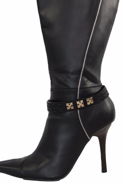 Black Faux Leather Stud Gold Metal Chain Anklet Boot Bracelet Women Accessories Accessories