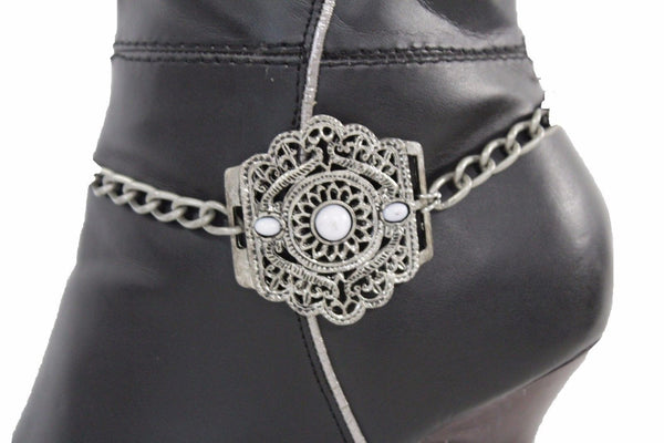 Silver Metal Chain Anklet Shoe Antique Charm Beads Boot Bracelet New Women Fashion Accessories