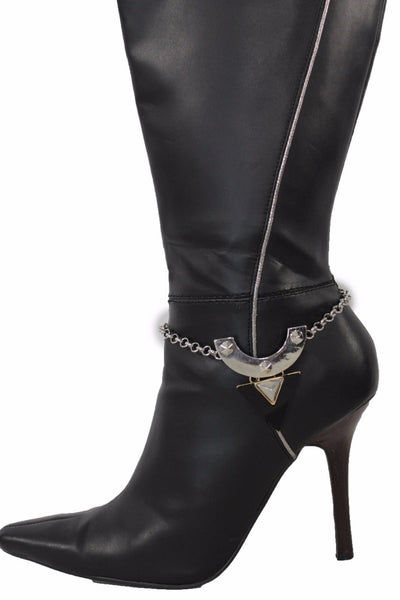 Silver Metal Chain Anklet Shoe Black Geometric Charm Boot Bracelet New Women Fashion Accessories